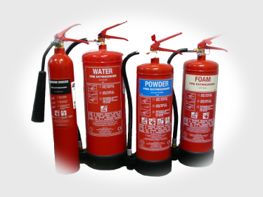 Our extinguishers include CO2, Water, Powder and Foam